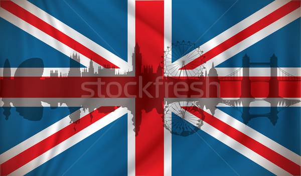Zászló királyság sziluett város piros fehér Stock fotó © ojal