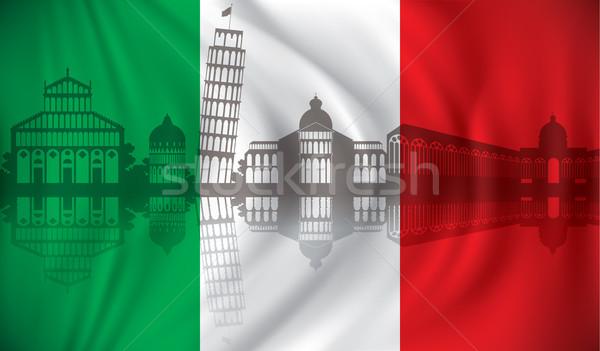 Stock fotó: Zászló · sziluett · pizza · utazás · csónak · sziluett