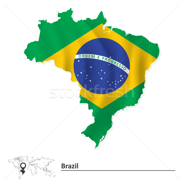 Map of Brazil with flag Stock photo © ojal