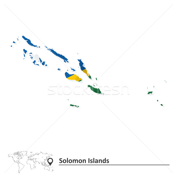 Map of Solomon Islands with flag Stock photo © ojal