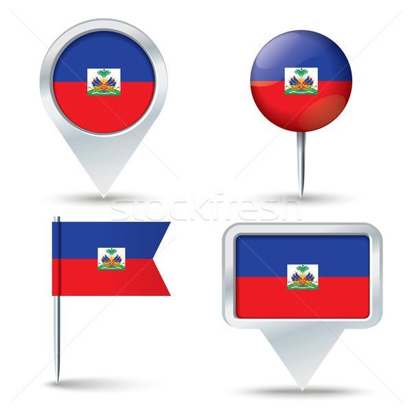 Harita bayrak Haiti iş yol beyaz Stok fotoğraf © ojal