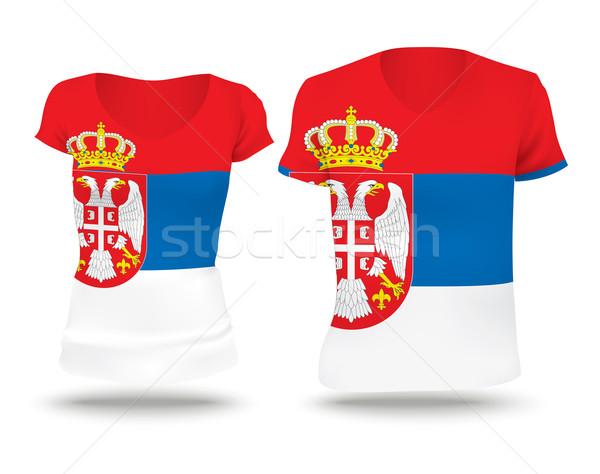 Bayrak gömlek dizayn Sırbistan adam golf Stok fotoğraf © ojal