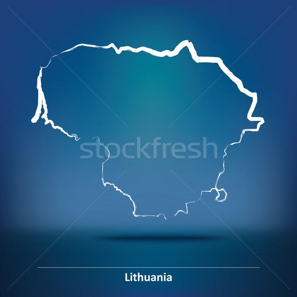Firka térkép Litvánia textúra absztrakt világ Stock fotó © ojal