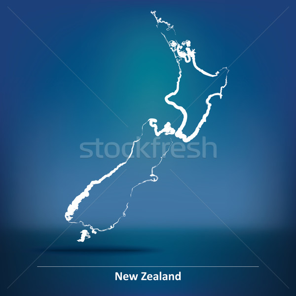 Doodle Map of New Zealand Stock photo © ojal