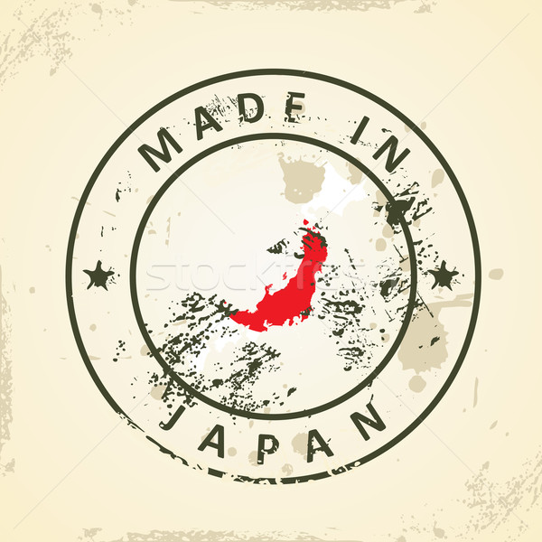 Stamp with map flag of Japan Stock photo © ojal