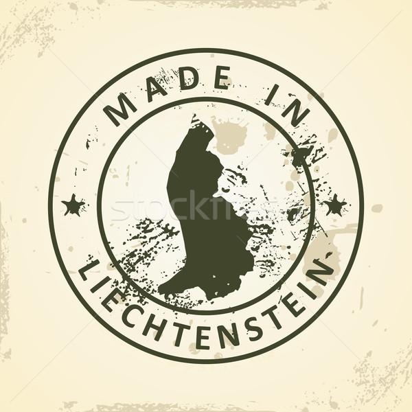 Timbro mappa Liechtenstein grunge mondo viaggio Foto d'archivio © ojal