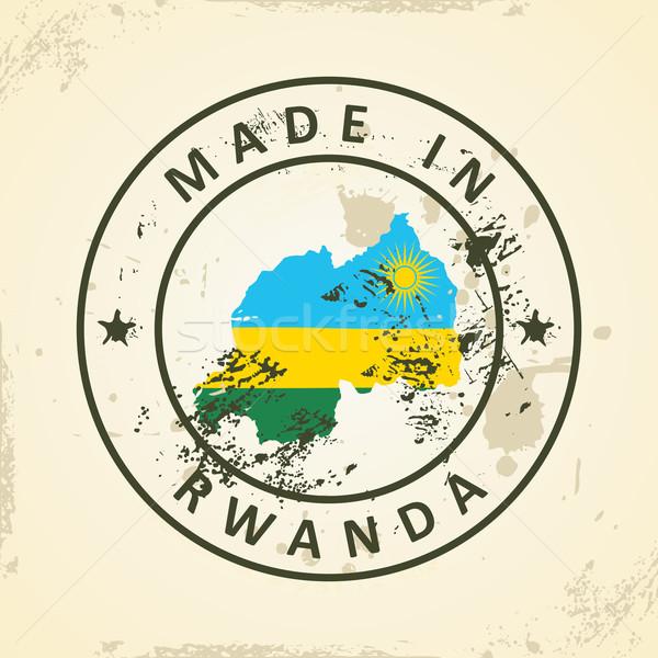 スタンプ 地図 フラグ ルワンダ グランジ 世界 ストックフォト © ojal