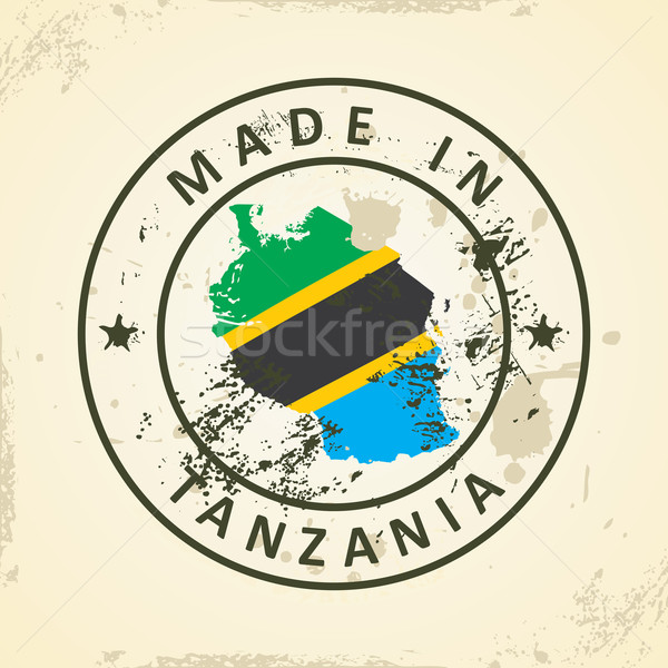 Stamp with map flag of Tanzania Stock photo © ojal