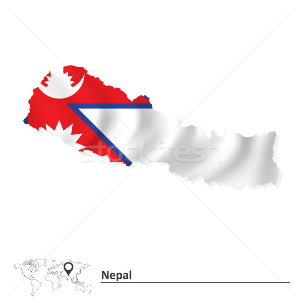 Map of Nepal with flag Stock photo © ojal