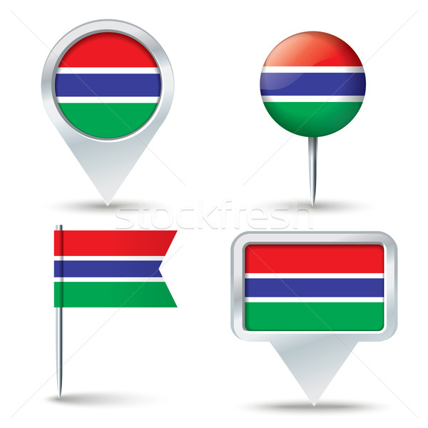 Map pins with flag of Gambia Stock photo © ojal