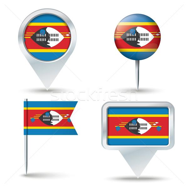 Pokaż banderą Suazi działalności drogowego biały Zdjęcia stock © ojal