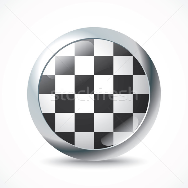 Checkered Race flag button Stock photo © ojal