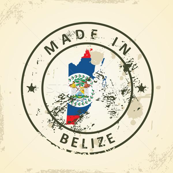 Bélyeg térkép zászló Belize grunge Föld Stock fotó © ojal