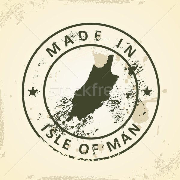 Stamp with map of Isle of Man Stock photo © ojal