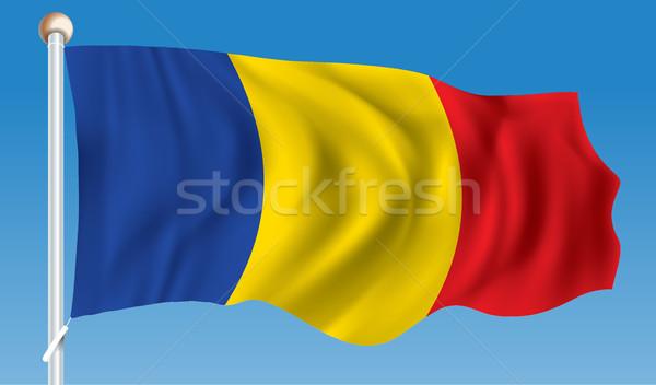 Bandera Rumania diseno arte signo azul Foto stock © ojal