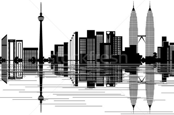 Kuala Lumpur skyline bianco nero business albero costruzione Foto d'archivio © ojal