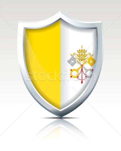 Tarcza banderą watykan podpisania podróży sylwetka Zdjęcia stock © ojal