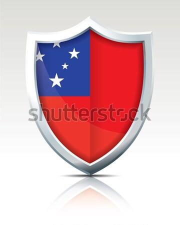 Escudo bandeira Samoa projeto mundo azul Foto stock © ojal