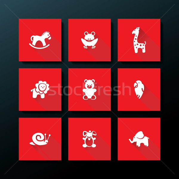 Vector flat baby toy icon set Stock photo © ojal