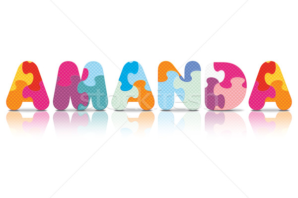 Stock photo: Vector AMANDA written with alphabet puzzle