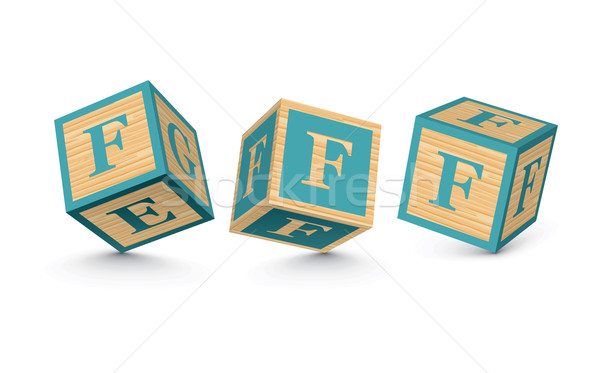 Stockfoto: Vector · houten · alfabet · blokken · business