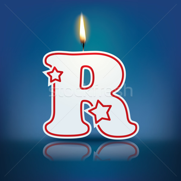 Candle letter R with flame Stock photo © ojal