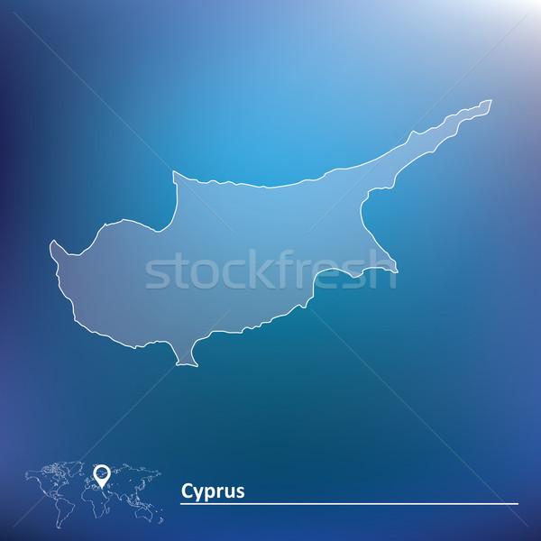 Térkép Ciprus absztrakt Föld felirat zászló Stock fotó © ojal