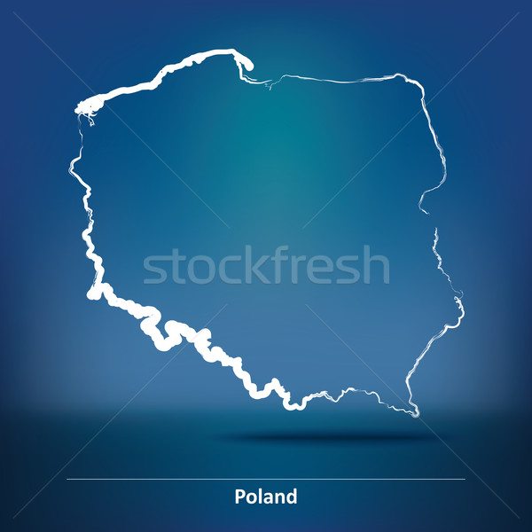 Doodle Map of Poland Stock photo © ojal