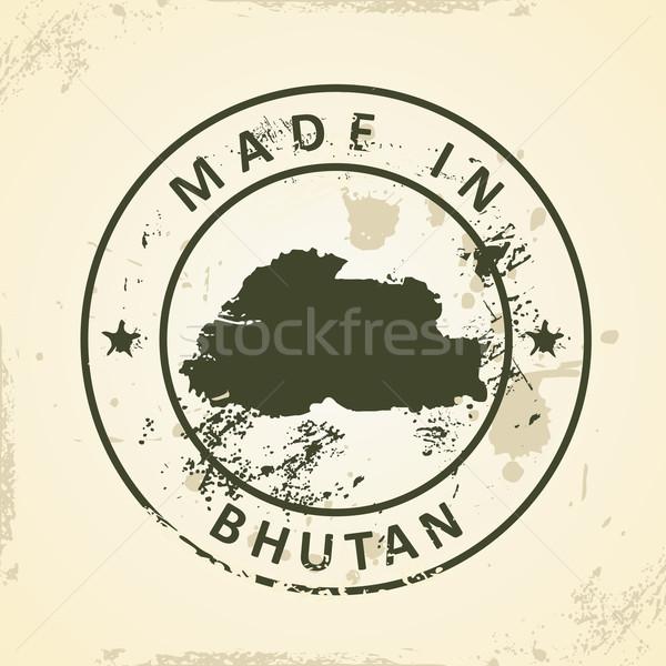 Stempel kaart Bhutan grunge aarde teken Stockfoto © ojal