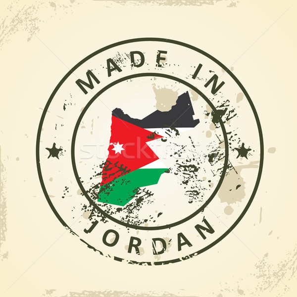 Stamp with map flag of Jordan Stock photo © ojal