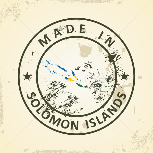 Stamp with map flag of Solomon Islands Stock photo © ojal