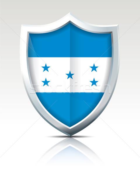 Scudo bandiera Honduras sfondo blu silhouette Foto d'archivio © ojal