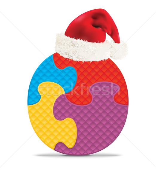O betű írott ábécé puzzle karácsony kalap Stock fotó © ojal