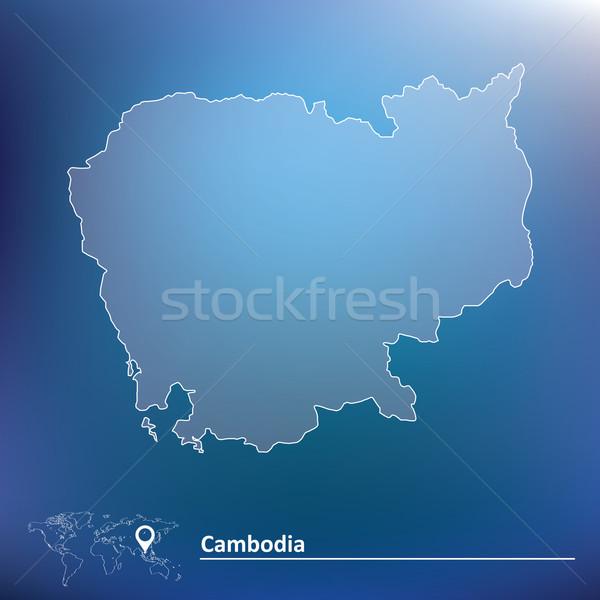 Térkép Kambodzsa város absztrakt terv zászló Stock fotó © ojal