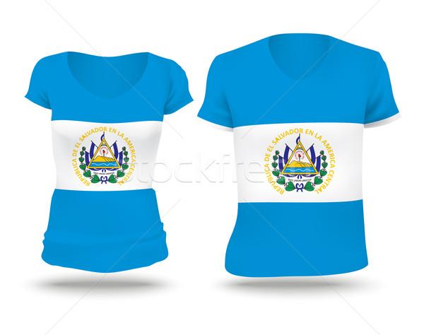 Bandeira camisas projeto El Salvador mulher homem Foto stock © ojal