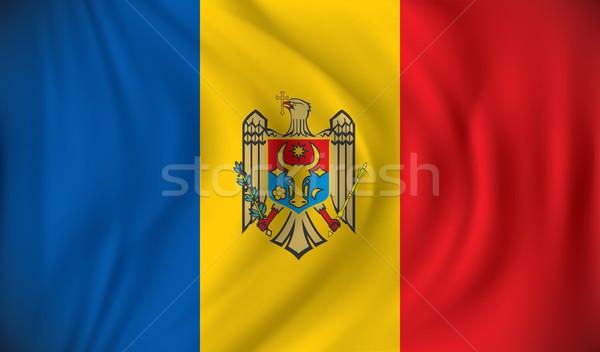 Zászló Moldova textúra földgömb felirat kék Stock fotó © ojal