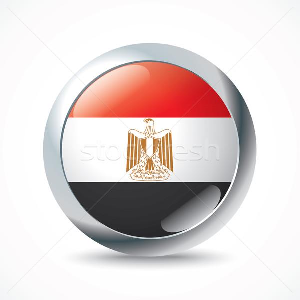 Egyiptom zászló gomb város absztrakt háló Stock fotó © ojal