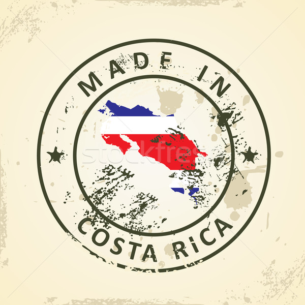 Stamp with map flag of Costa Rica Stock photo © ojal
