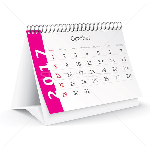 October 2017 desk calendar - vector Stock photo © ojal