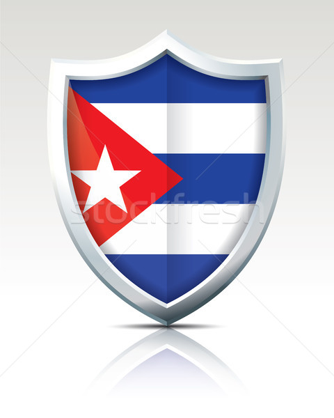 シールド フラグ キューバ 背景 芸術 にログイン ストックフォト © ojal