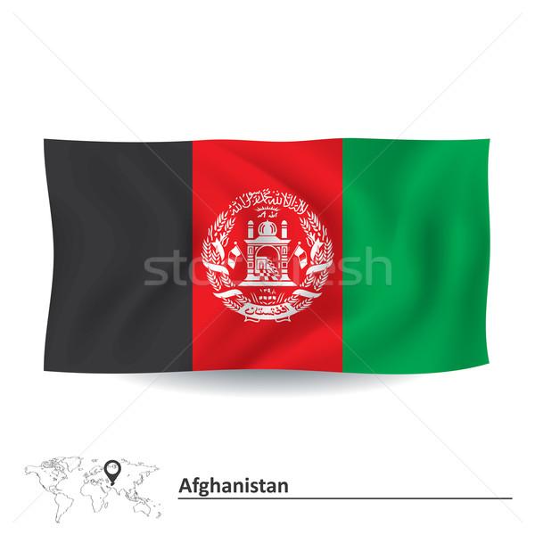 Bayrak Afganistan imzalamak siluet renk beyaz Stok fotoğraf © ojal