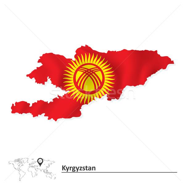 Harita Kırgızistan bayrak doku güneş dizayn Stok fotoğraf © ojal