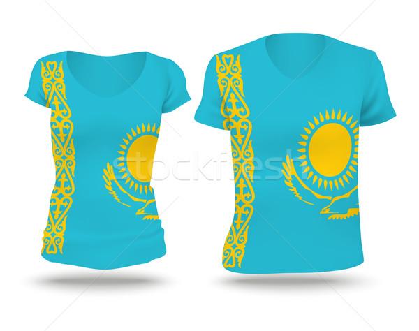 флаг рубашку дизайна Казахстан женщину человека Сток-фото © ojal