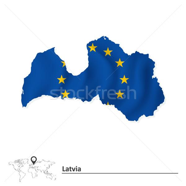 Map of Latvia with European Union flag Stock photo © ojal