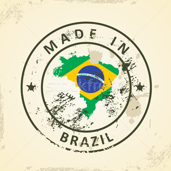 Stamp with map flag of Brazil Stock photo © ojal