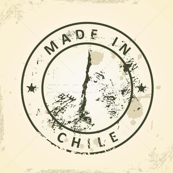 Bélyeg térkép Chile grunge absztrakt terv Stock fotó © ojal