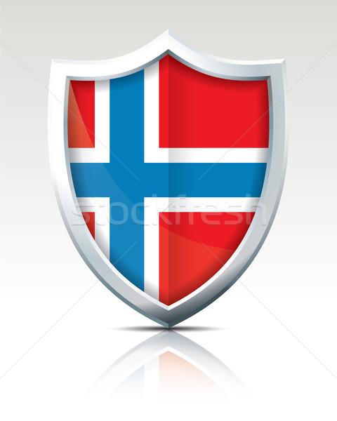 Escudo bandeira Noruega abstrato mundo vermelho Foto stock © ojal