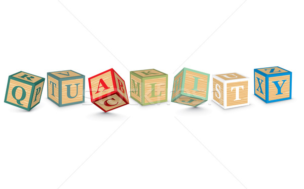 Stock photo: Word QUALITY written with alphabet blocks