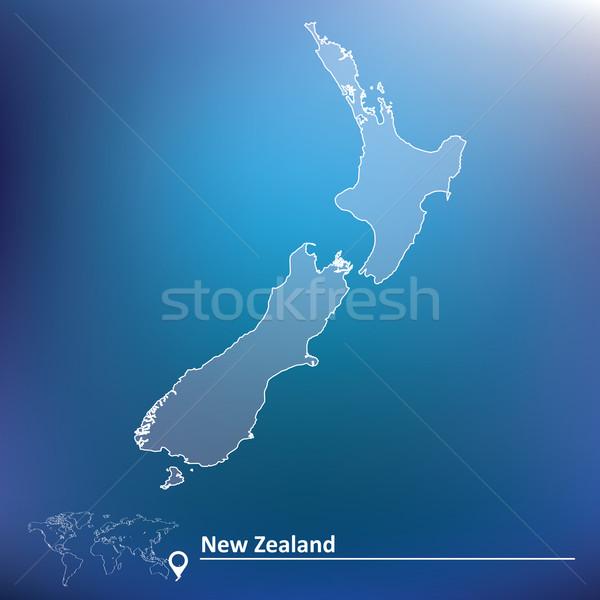 карта Новая Зеландия текстуры путешествия звездой черный Сток-фото © ojal