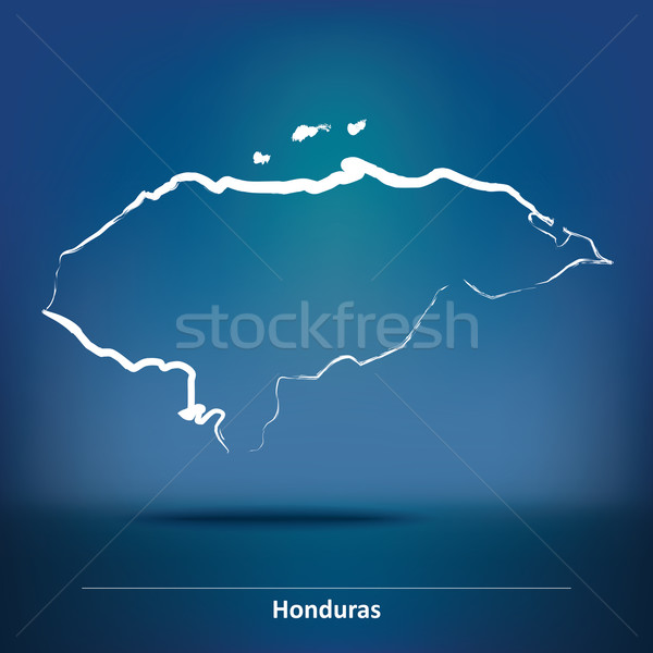 Doodle carte Honduras fond bleu silhouette Photo stock © ojal